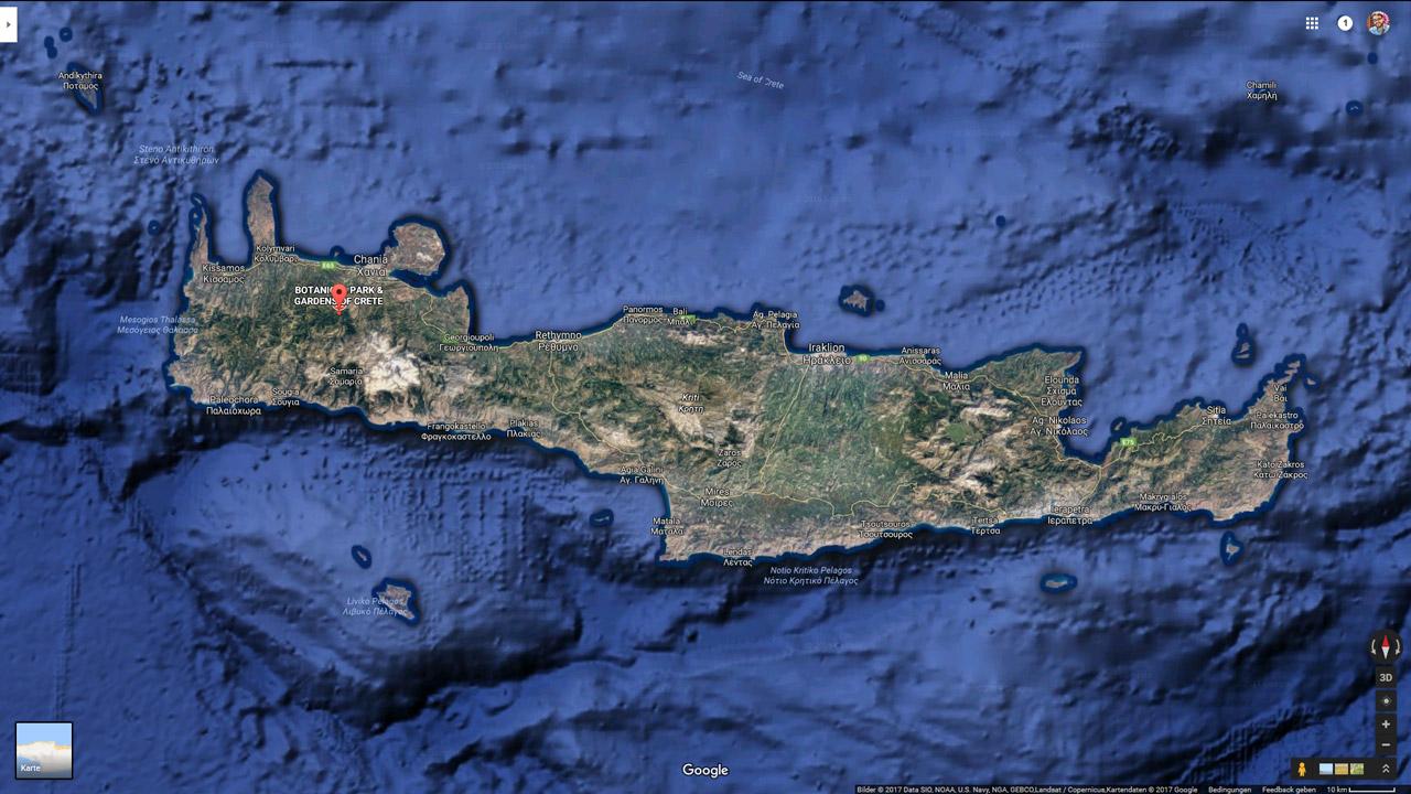 Botanischer Garten Kreta Karte