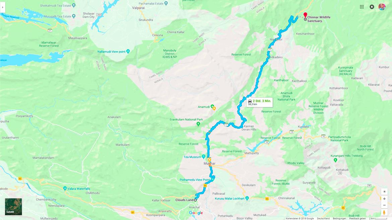 Chinnar-Wildlife-Streckenkarte