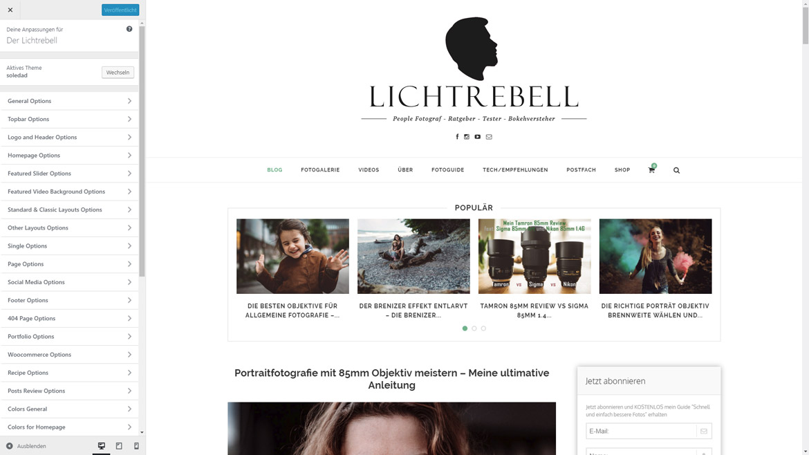 WordPress Website erstellen Customizer